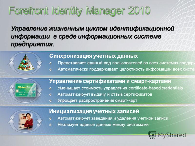 Управление жизненным циклом идентификационной информации в среде информационных системе предприятия. Инициализация учетных записей Автоматизирует заведения и удаления учетной записи Реализует единые данные между системами Управление сертификатами и с