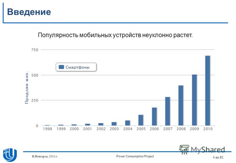 4 из 61 Введение Популярность мобильных устройств неуклонно растет. Н.Новгород, 2011 г.Power Consumption Project