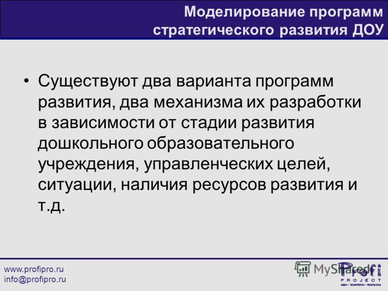 www.profipro.ru info@profipro.ru Моделирование программ стратегического развития ДОУ Существуют два варианта программ развития, два механизма их разработки в зависимости от стадии развития дошкольного образовательного учреждения, управленческих целей