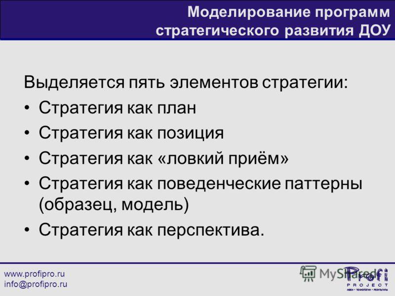 www.profipro.ru info@profipro.ru Моделирование программ стратегического развития ДОУ Выделяется пять элементов стратегии: Стратегия как план Стратегия как позиция Стратегия как «ловкий приём» Стратегия как поведенческие паттерны (образец, модель) Стр