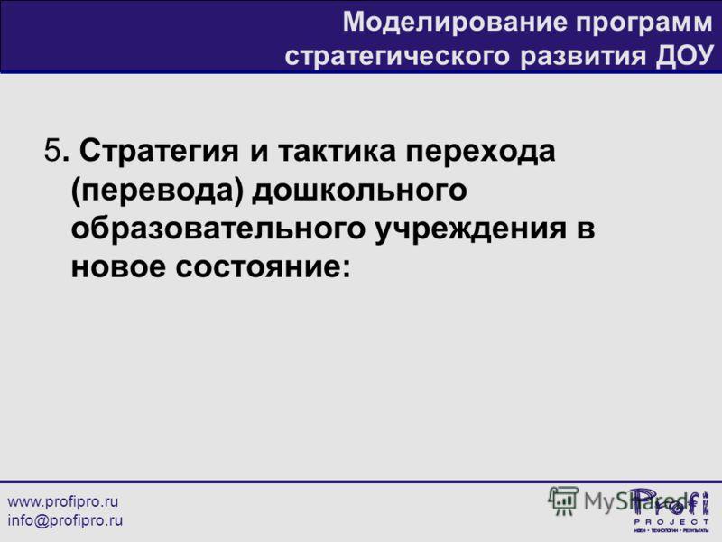 www.profipro.ru info@profipro.ru Моделирование программ стратегического развития ДОУ 5. Стратегия и тактика перехода (перевода) дошкольного образовательного учреждения в новое состояние: