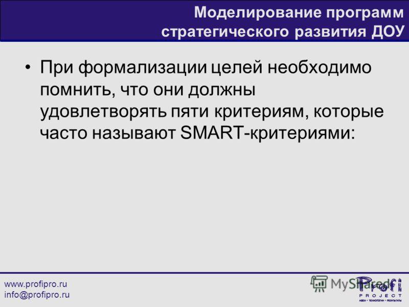 www.profipro.ru info@profipro.ru Моделирование программ стратегического развития ДОУ При формализации целей необходимо помнить, что они должны удовлетворять пяти критериям, которые часто называют SMART-критериями: