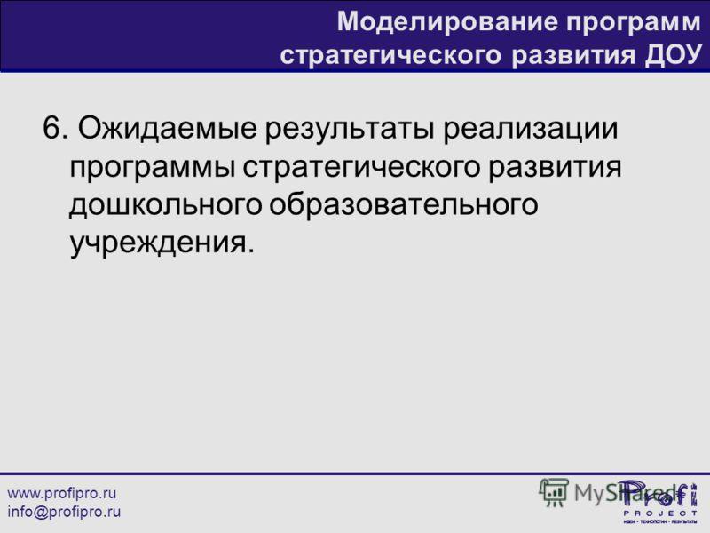 www.profipro.ru info@profipro.ru Моделирование программ стратегического развития ДОУ 6. Ожидаемые результаты реализации программы стратегического развития дошкольного образовательного учреждения.