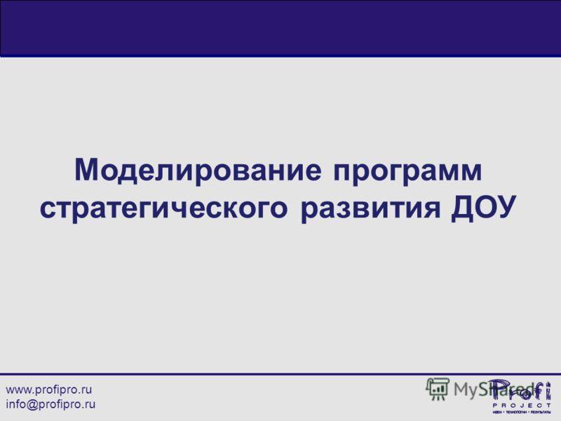 www.profipro.ru info@profipro.ru Моделирование программ стратегического развития ДОУ