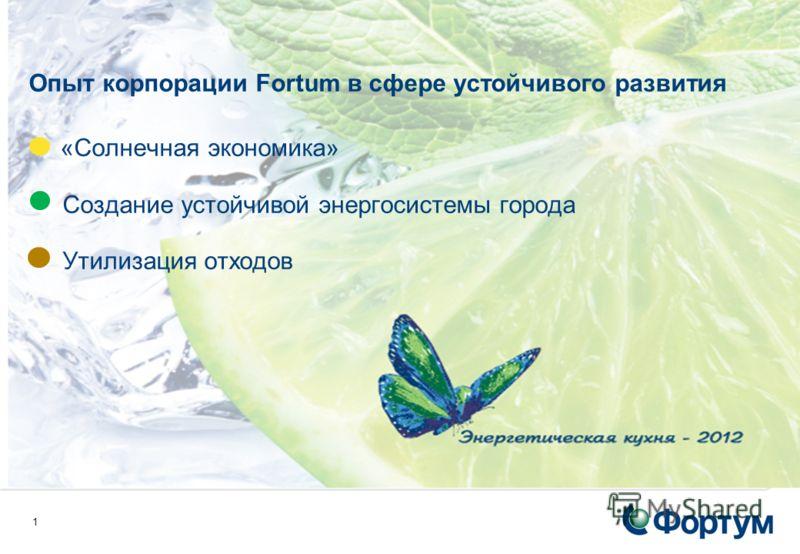1 Опыт корпорации Fortum в сфере устойчивого развития «Солнечная экономика» Создание устойчивой энергосистемы города Утилизация отходов