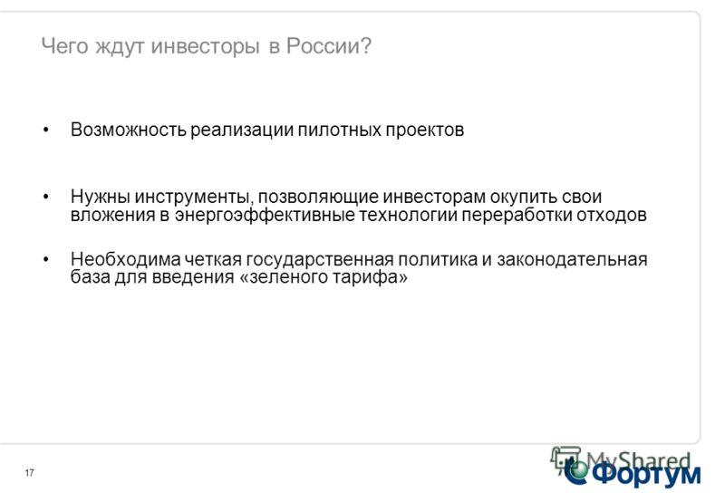Чего ждут инвесторы в России? Возможность реализации пилотных проектов Нужны инструменты, позволяющие инвесторам окупить свои вложения в энергоэффективные технологии переработки отходов Необходима четкая государственная политика и законодательная баз