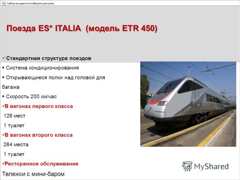 Поезда ES* ITALIA (модель ETR 450) Стандартная структура поездов Система кондиционирования Открывающиеся полки над головой для багажа Скорость 200 км/час В вагонах первого класса 126 мест 1 туалет В вагонах второго класса 264 места 1 туалет Ресторанн