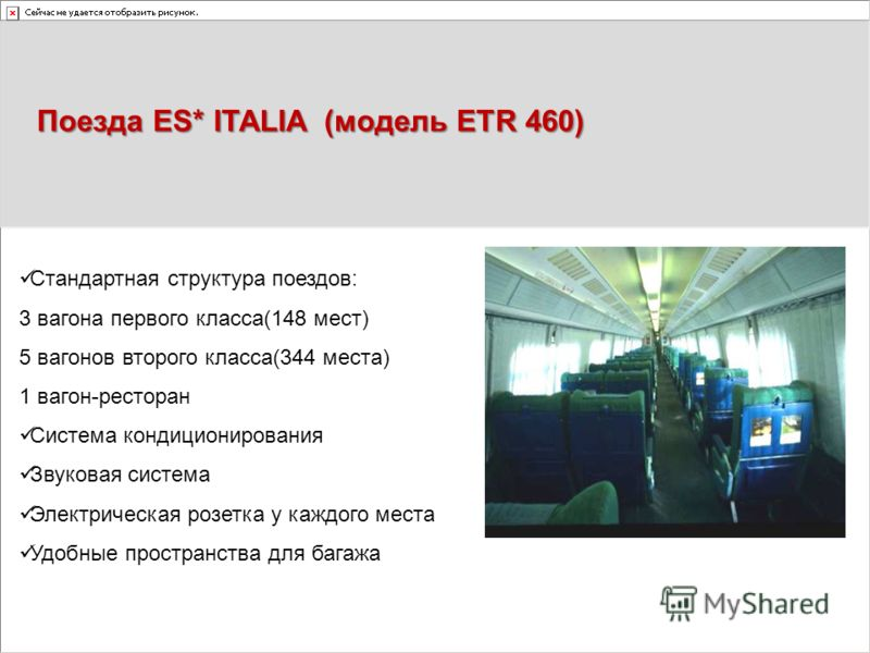 Поезда ES* ITALIA (модель ETR 460) Стандартная структура поездов: 3 вагона первого класса(148 мест) 5 вагонов второго класса(344 места) 1 вагон-ресторан Система кондиционирования Звуковая система Электрическая розетка у каждого места Удобные простран