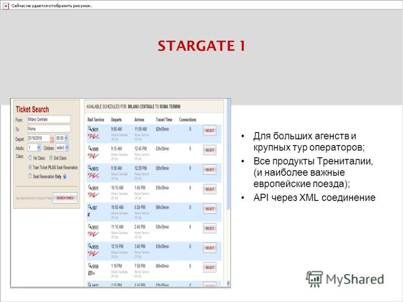 STARGATE 1 Для больших агенств и крупных тур операторов; Все продукты Трениталии, (и наиболее важные европейские поезда); API через XML соединение