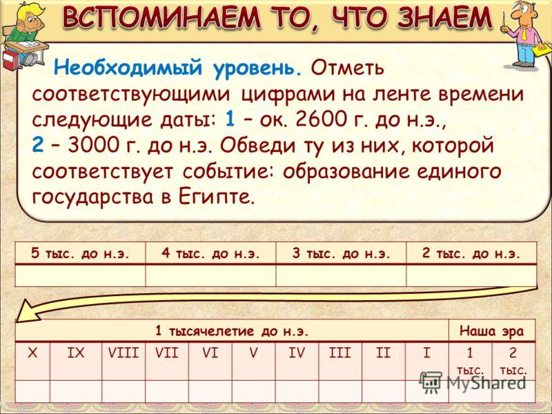 Необходимый уровень. Отметь соответствующими цифрами на ленте времени следующие даты: 1 – ок. 2600 г. до н.э., 2 – 3000 г. до н.э. Обведи ту из них, которой соответствует событие: образование единого государства в Египте. 1 тысячелетие до н.э.Наша эр