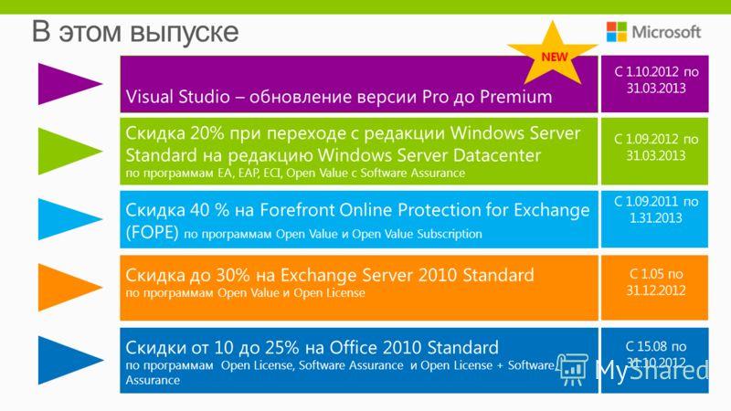Visual Studio – обновление версии Pro до Premium Скидка 20% при переходе с редакции Windows Server Standard на редакцию Windows Server Datacenter по программам EA, EAP, ECI, Open Value с Software Assurance Скидка 40 % на Forefront Online Protection f
