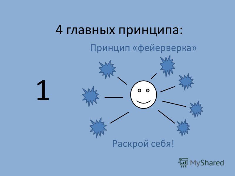 4 главных принципа: Принцип «фейерверка» Раскрой себя! 1