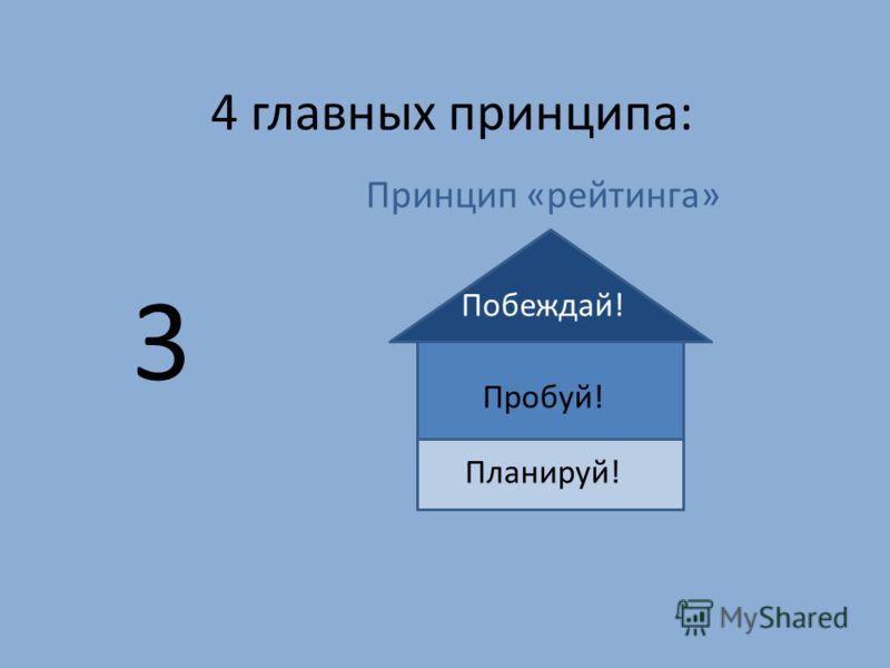 4 главных принципа: Принцип «рейтинга» Побеждай! Пробуй! Планируй! 3