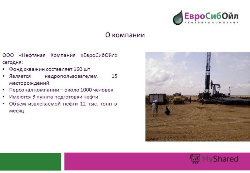 О компании ООО « Нефтяная Компания « ЕвроСибОйл » сегодня : Фонд скважин составляет 160 шт Является недропользователем 15 месторождений Персонал компании – около 1000 человек Имеются 3 пункта подготовки нефти Объем извлекаемой нефти 12 тыс. тонн в ме