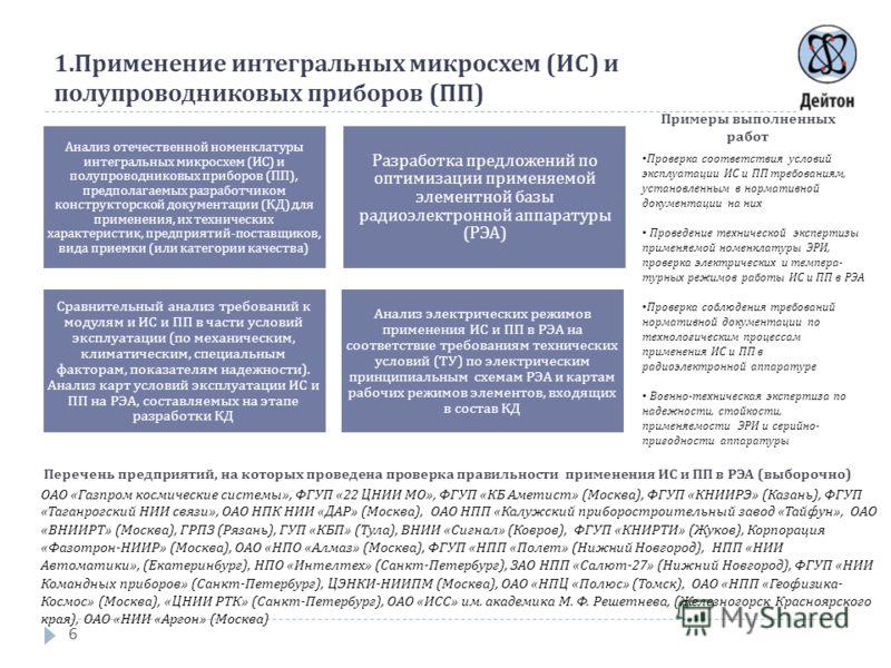 1. Применение интегральных микросхем ( ИС ) и полупроводниковых приборов ( ПП ) 6 Анализ отечественной номенклатуры интегральных микросхем ( ИС ) и полупроводниковых приборов ( ПП ), предполагаемых разработчиком конструкторской документации ( КД ) дл