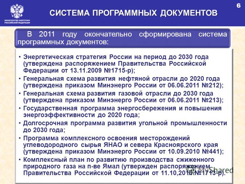 СИСТЕМА ПРОГРАММНЫХ ДОКУМЕНТОВ В 2011 году окончательно сформирована система программных документов: Энергетическая стратегия России на период до 2030 года (утверждена распоряжением Правительства Российской Федерации от 13.11.2009 1715-р); Генеральн