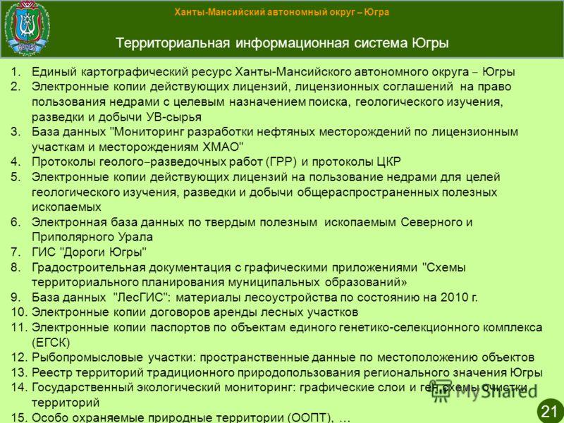 Ханты-Мансийский автономный округ – Югра Территориальная информационная система Югры 21 1.Единый картографический ресурс Ханты-Мансийского автономного округа Югры 2.Электронные копии действующих лицензий, лицензионных соглашений на право пользования