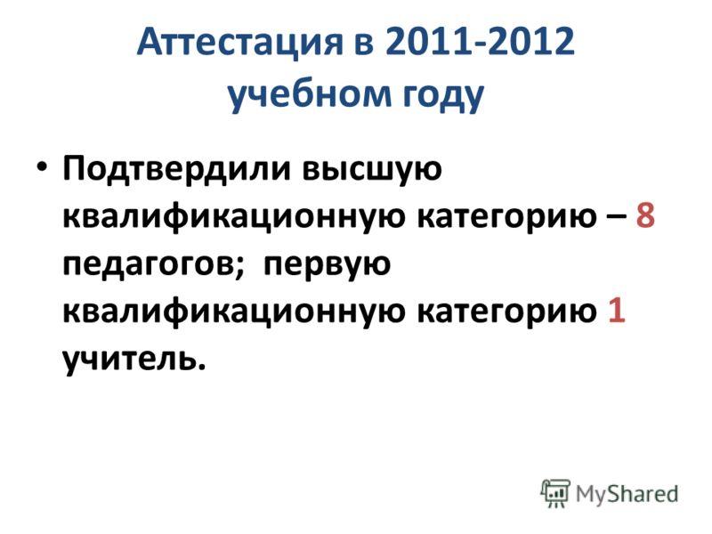 Аттестация в 2011-2012 учебном году Подтвердили высшую квалификационную категорию – 8 педагогов; первую квалификационную категорию 1 учитель.