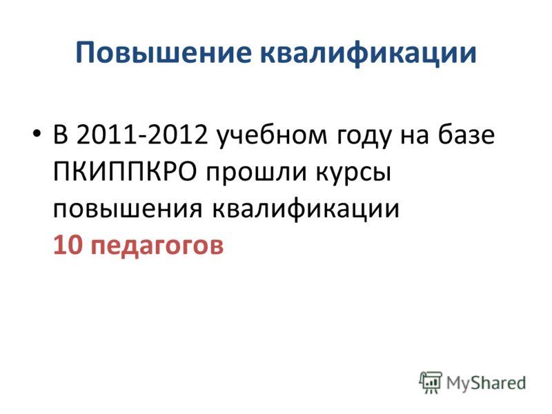Повышение квалификации В 2011-2012 учебном году на базе ПКИППКРО прошли курсы повышения квалификации 10 педагогов