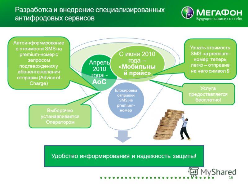 Разработка и внедрение специализированных антифродовых сервисов 16 Удобство информирования и надежность защиты Блокировка отправки SMS на premium- номер Апрель 2010 года - AoC С июня 2010 года – «Мобильны й прайс» Автоинформирование о стоимости SMS н
