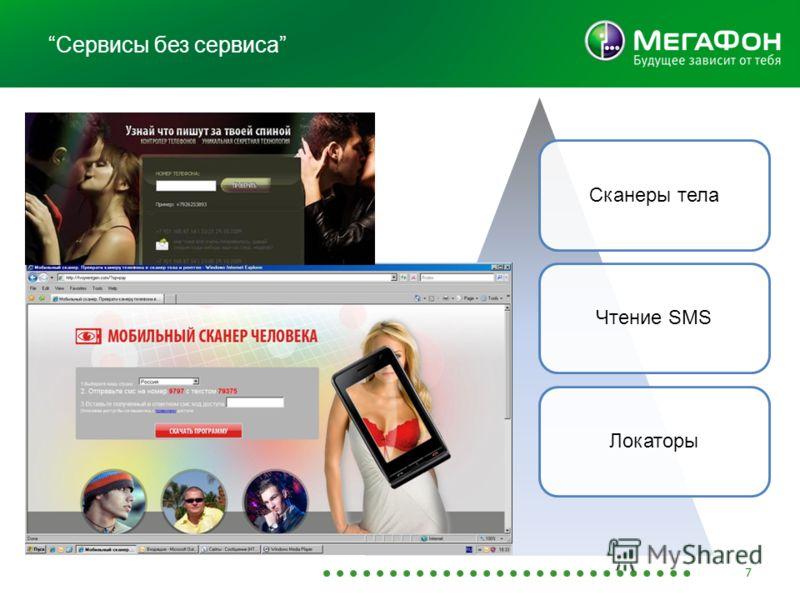 Сервисы без сервиса Сканеры телаЧтение SMSЛокаторы 7