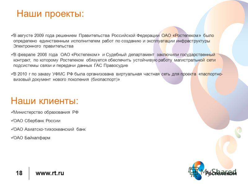 www.rt.ru Наши проекты: В августе 2009 года решением Правительства Российской Федерации ОАО «Ростелеком» было определено единственным исполнителем работ по созданию и эксплуатации инфраструктуры Электронного правительства В феврале 2008 года ОАО «Рос