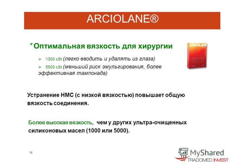 ARCIOLANE® * Оптимальная вязкость для хирургии 1300 cSt (легко вводить и удалять из глаза) 5500 cSt (меньший риск эмульгирования, более эффективная тампонада) Устранение НМС (с низкой вязкостью) повышает общую вязкость соединения. Более высокая вязко