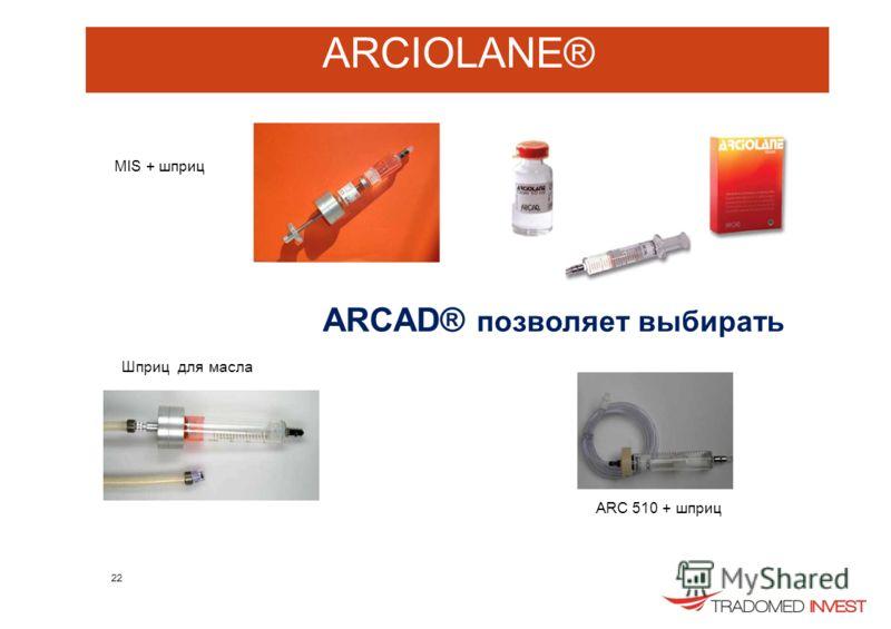 ARCIOLANE® MIS + шприц Шприц для масла ARCAD® позволяет выбирать ARC 510 + шприц 22