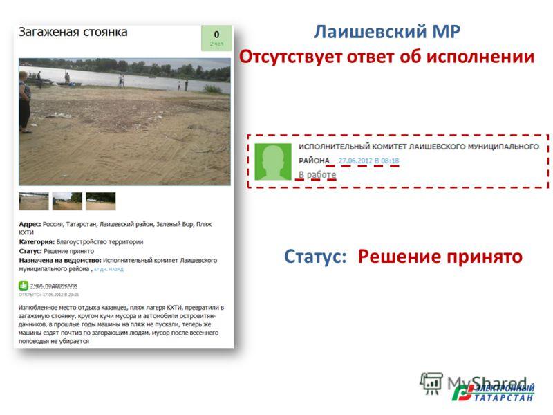 Статус: Решение принято Лаишевский МР Отсутствует ответ об исполнении