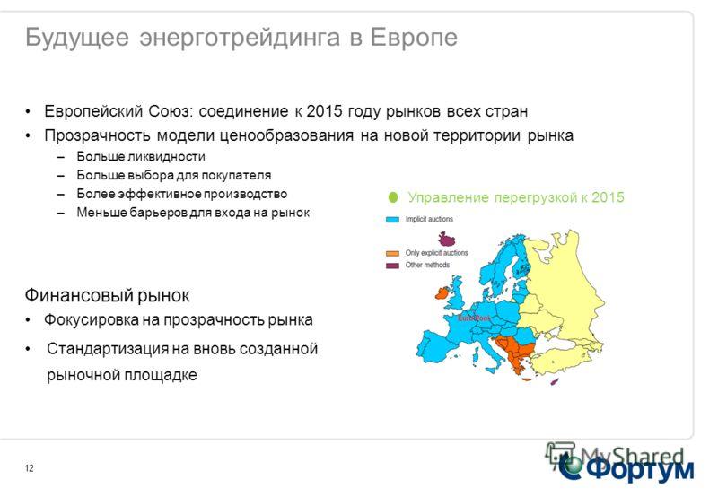 12 Будущее энерготрейдинга в Европе Европейский Союз: соединение к 2015 году рынков всех стран Прозрачность модели ценообразования на новой территории рынка –Больше ликвидности –Больше выбора для покупателя –Более эффективное производство –Меньше бар
