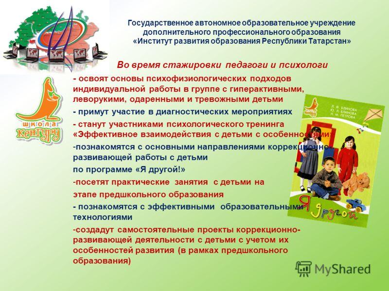 Государственное автономное образовательное учреждение дополнительного профессионального образования «Институт развития образования Республики Татарстан» Во время стажировки педагоги и психологи - освоят основы психофизиологических подходов индивидуал