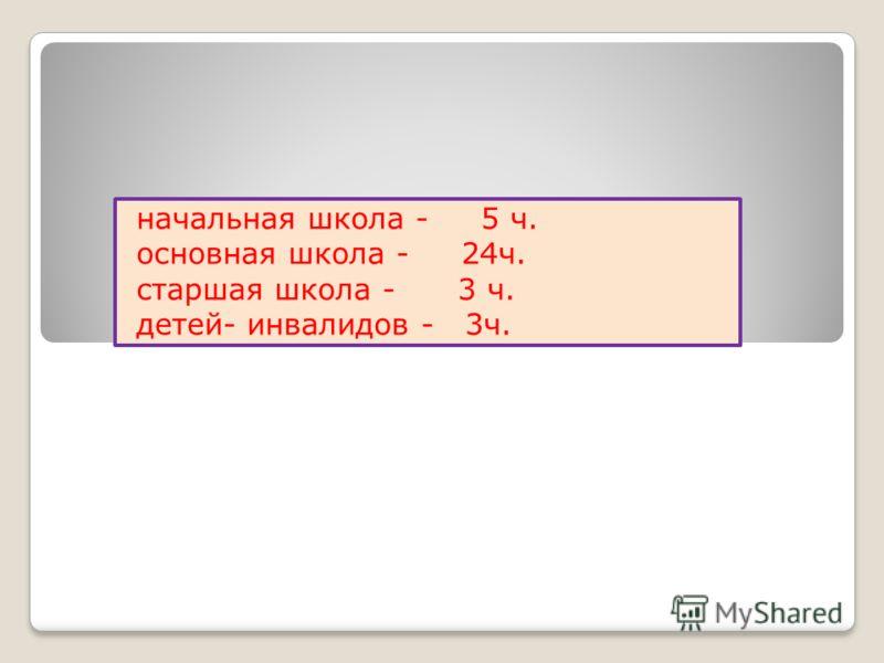 начальная школа - 5 ч. основная школа - 24ч. старшая школа - 3 ч. детей- инвалидов - 3ч.