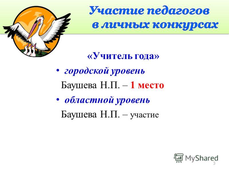 «Учитель года» городской уровень Баушева Н.П. – 1 место областной уровень Баушева Н.П. – участие 3