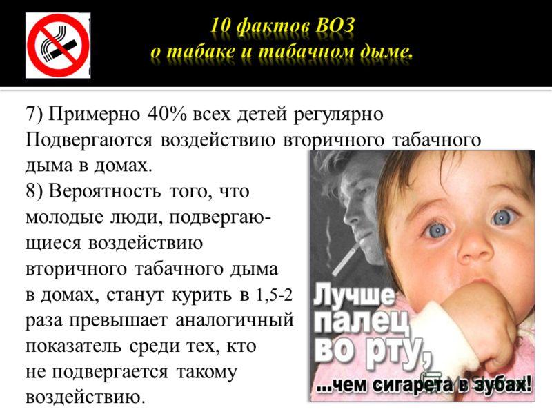 7) Примерно 40% всех детей регулярно Подвергаются воздействию вторичного табачного дыма в домах. 8) Вероятность того, что молодые люди, подвергаю- щиеся воздействию вторичного табачного дыма в домах, станут курить в 1,5-2 раза превышает аналогичный п