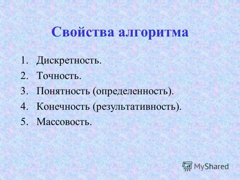 Свойства алгоритма 1.Дискретность. 2.Точность. 3.Понятность (определенность). 4.Конечность (результативность). 5.Массовость.