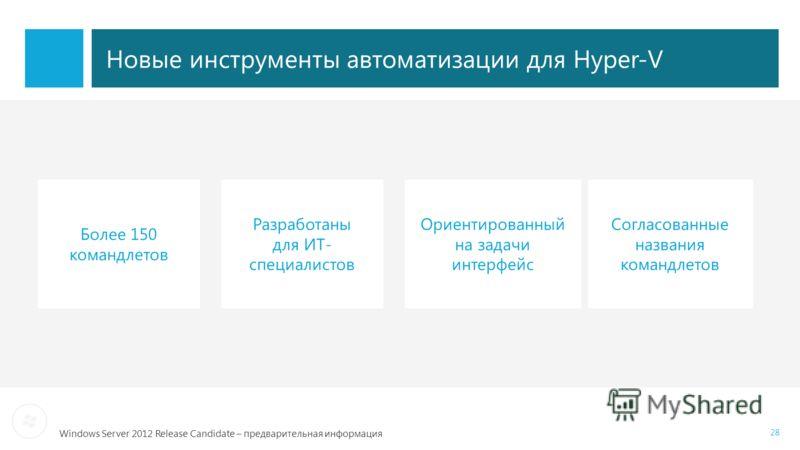 Windows Server 2012 Release Candidate – предварительная информация Новые инструменты автоматизации для Hyper-V 28 Разработаны для ИТ- специалистов Более 150 командлетов Согласованные названия командлетов Ориентированный на задачи интерфейс