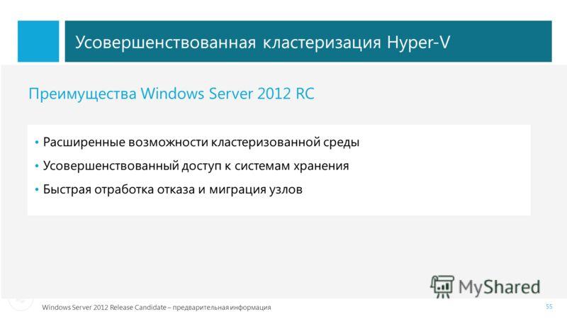 Windows Server 2012 Release Candidate – предварительная информация Усовершенствованная кластеризация Hyper-V 55 Преимущества Windows Server 2012 RC Расширенные возможности кластеризованной среды Усовершенствованный доступ к системам хранения Быстрая