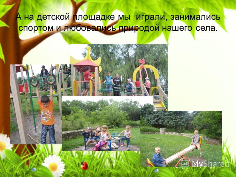 А на детской площадке мы играли, занимались спортом и любовались природой нашего села.