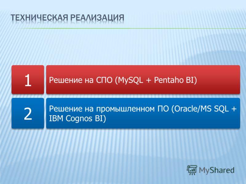 Решение на СПО (MySQL + Pentaho BI) Решение на промышленном ПО (Oracle/MS SQL + IBM Cognos BI) 1 1 2 2