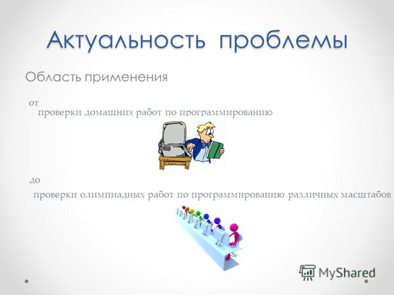 Актуальность проблемы Область применения от проверки домашних работ по программированию до проверки олимпиадных работ по программированию различных масштабов