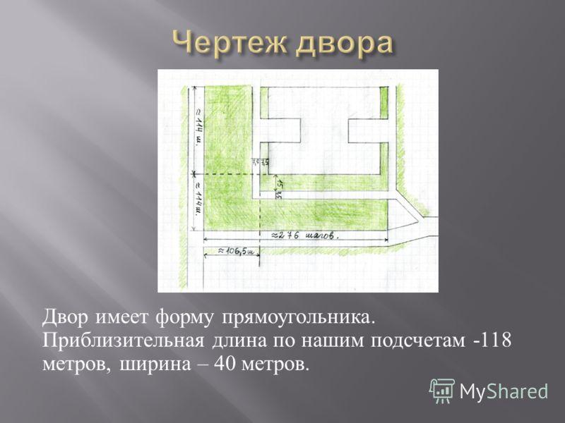 Двор имеет форму прямоугольника. Приблизительная длина по нашим подсчетам -118 метров, ширина – 40 метров.