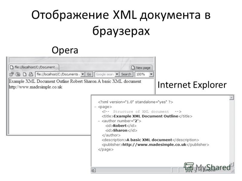 Отображение XML документа в браузерах Opera Internet Explorer