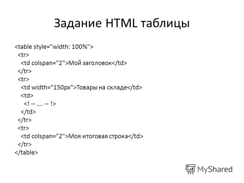 Задание HTML таблицы Mой заголовок Товары на складе Mоя итоговая строка
