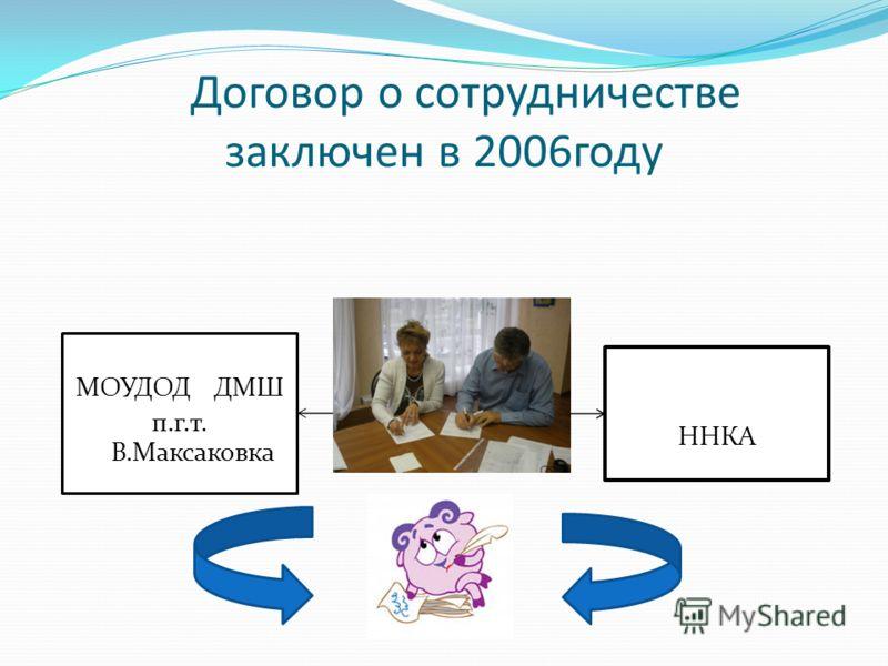 Договор о сотрудничестве заключен в 2006году МОУДОД ДМШ п.г.т. В.Максаковка ННКА