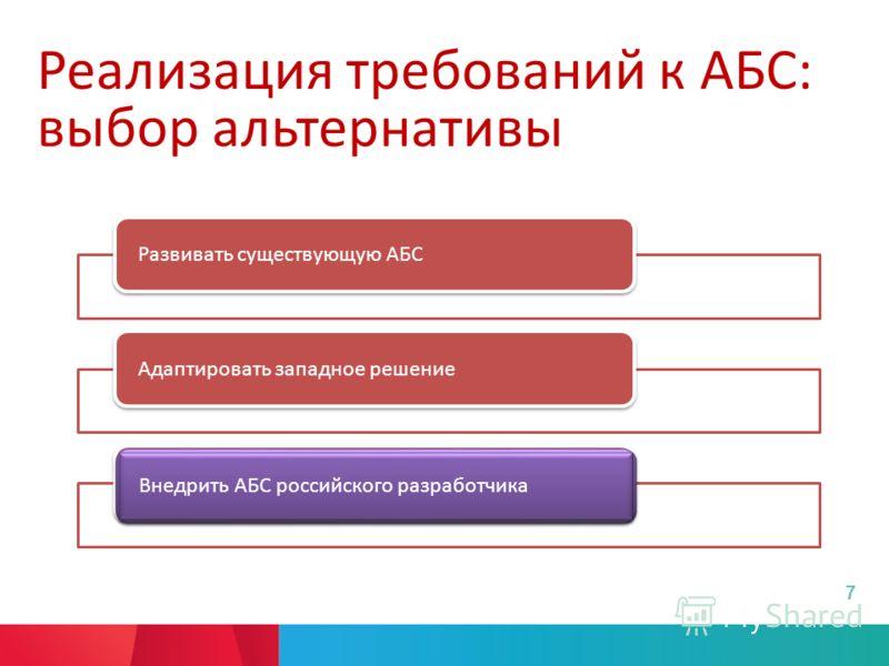 Реализация требований к АБС: выбор альтернативы Развивать существующую АБСАдаптировать западное решениеВнедрить АБС российского разработчика 7