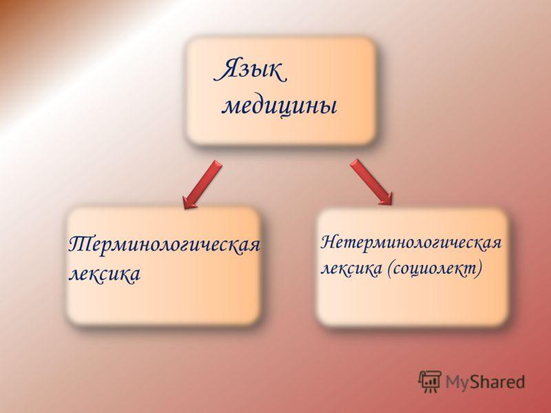 Терминологическая лексика Нетерминологическая лексика (социолект) Язык медицины
