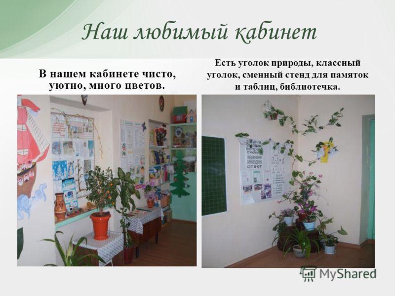 Наш любимый кабинет В нашем кабинете чисто, уютно, много цветов. Есть уголок природы, классный уголок, сменный стенд для памяток и таблиц, библиотечка.