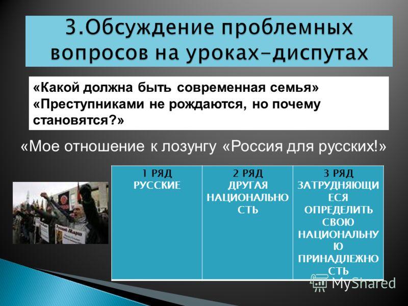 «Какой должна быть современная семья» «Преступниками не рождаются, но почему становятся?» «Мое отношение к лозунгу «Россия для русских!» 1 РЯД РУССКИЕ 2 РЯД ДРУГАЯ НАЦИОНАЛЬНО СТЬ 3 РЯД ЗАТРУДНЯЮЩИ ЕСЯ ОПРЕДЕЛИТЬ СВОЮ НАЦИОНАЛЬНУ Ю ПРИНАДЛЕЖНО СТЬ