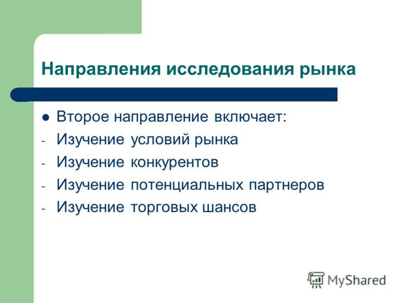 Направления исследования рынка Второе направление включает: - Изучение условий рынка - Изучение конкурентов - Изучение потенциальных партнеров - Изучение торговых шансов