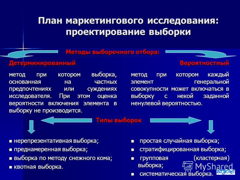 План маркетингового исследования: проектирование выборки Методы выборочного отбора: ДетерминированныйВероятностный метод при котором выборка, основанная на частных предпочтениях или суждениях исследователя. При этом оценка вероятности включения элеме
